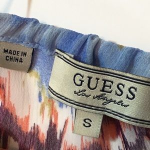 Guess Tops - Guess Cold Shoulder Flowy Sheer Cinched Waist Top